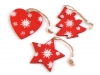 Dřevěné vánoční dekorace srdce, stromek, hvězda (6 ks)