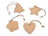 Dřevěná / jutová vánoční hvězda, zvonek, srdce, anděl (8 ks)