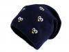 Dětská zimní čepice s výšivkou očí, svěšená (1 ks)