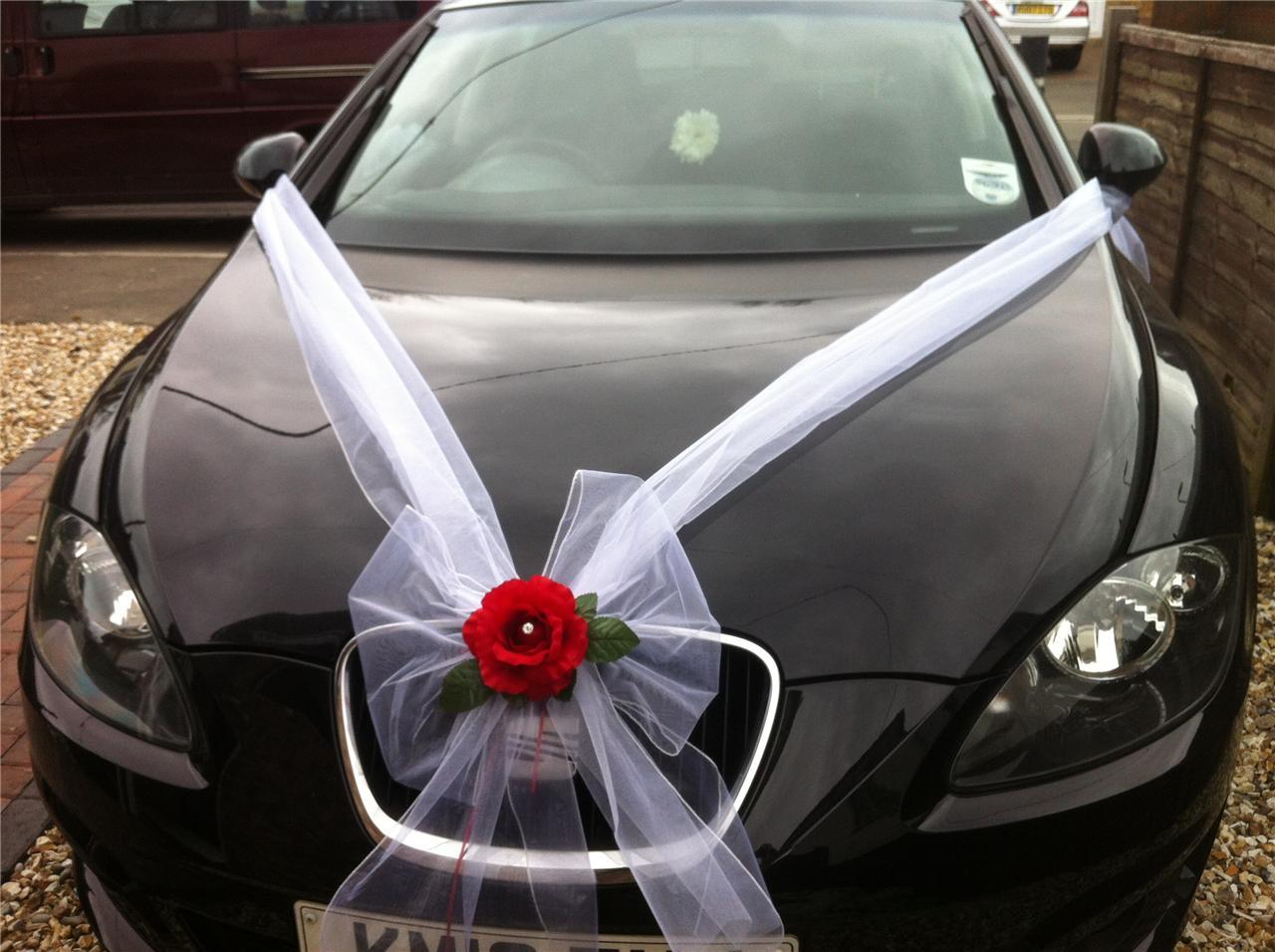 Украшение на машину на свадьбу своими руками банты
